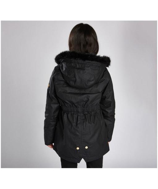 Girl's Barbour International Croft Waxed Jacket - Black