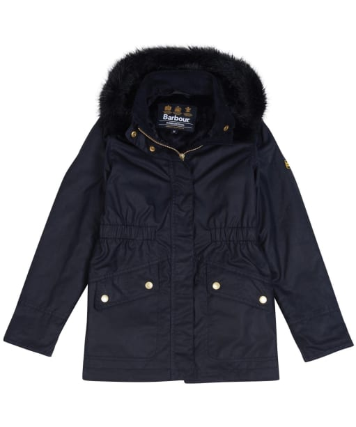Girl's Barbour International Croft Waxed Jacket - Black