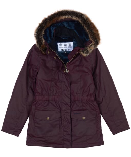 Girls Barbour Tern Waxed Jacket, 10-15yrs - Merlot