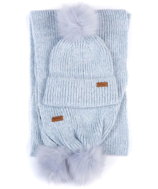 Women's Barbour Pom Beanie and Scarf Set - FOREVER BLUE