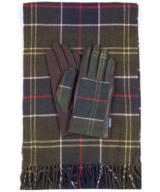 Women's Barbour Tartan Scarf and Leather Mix Gloves Set - Classic Tartan