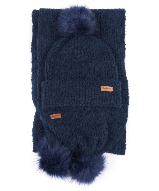 Women's Barbour Boucle Beanie & Scarf Set - Navy
