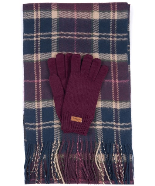 Women's Barbour Scarf and Knitted Glove Gift Set - Damson