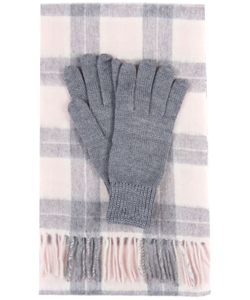 Women's Barbour Wool Tartan Scarf & Glove Set - Pink / Grey Tartan