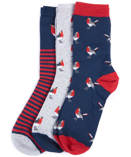 Women's Barbour Robin Socks Giftbox - Red / Grey