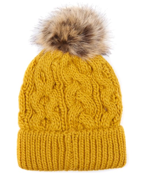 Women's Barbour Penshaw Cable Beanie - Ochre