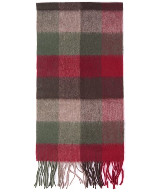 Barbour Large Tattersall Lambswool Scarf - Dark Green/Taupe/Red