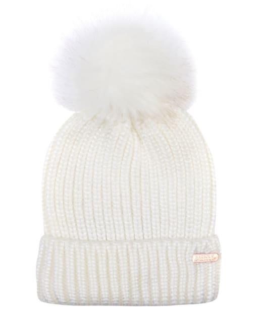 Women's Barbour International Pearlised Pom Beanie Hat - Ice White