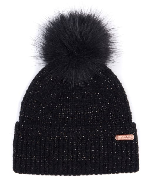 Women's Barbour International Cadwell Pom Beanie Hat - Black / Gold