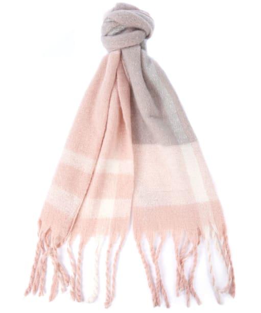 Women's Barbour Isla Tartan Boucle Scarf - Pink / Grey