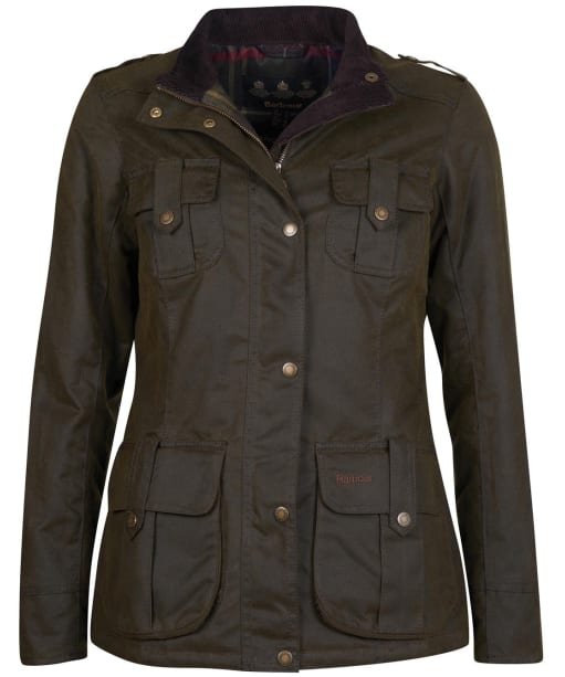 Women's Barbour Winter Defence Waxed Jacket - Olive