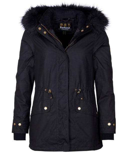 Women's Barbour International Croft Waxed Jacket - Black