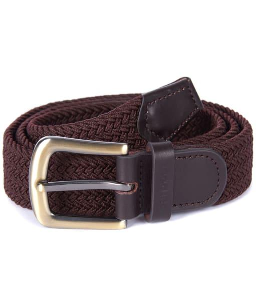 Men's Barbour Stretch Webbing Leather Belt - Dark Brown
