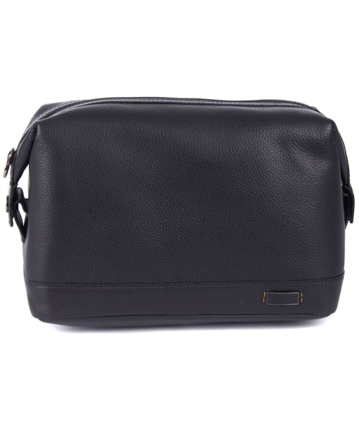 Men's Barbour International Leather Washbag - Black