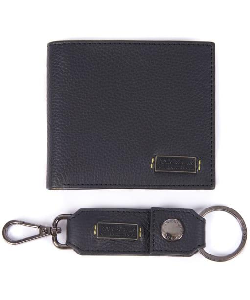 Men's Barbour International Leather Billfold & Keyring Giftset - Black