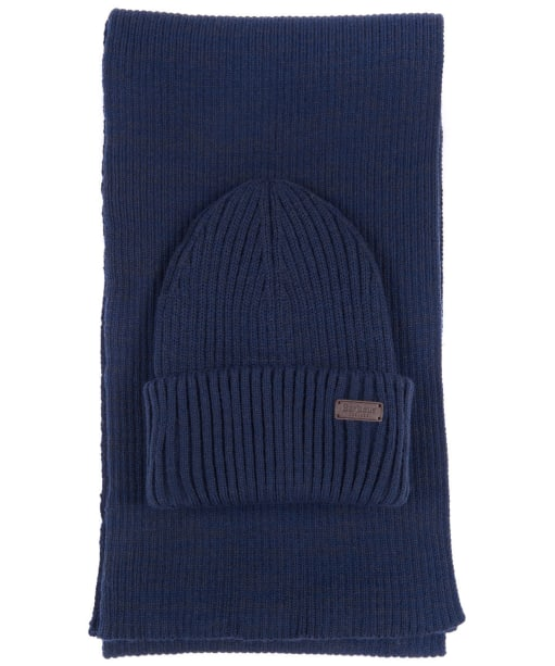Men's Barbour Crimdon Beanie and Scarf Gift Set - Navy