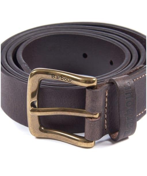 Men's Barbour Leather Belt & Wallet Gift Set - Dark Brown
