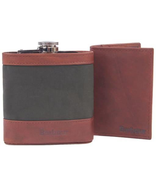 Men's Barbour Aydon Hip Flask and Wallet Gift Set - Olive / Brown