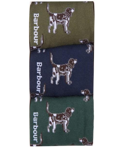 Men's Barbour Pointer Dog Socks Gift Box - Olive / Navy / Green