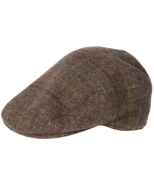 Men's Barbour Wool Crieff Flat Cap - Olive / Blue / Red