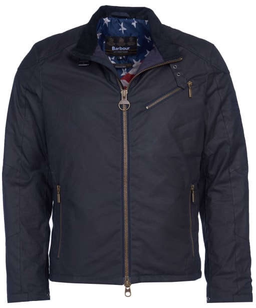 Men's Barbour International Steve McQueen Placer Waxed Jacket - Navy