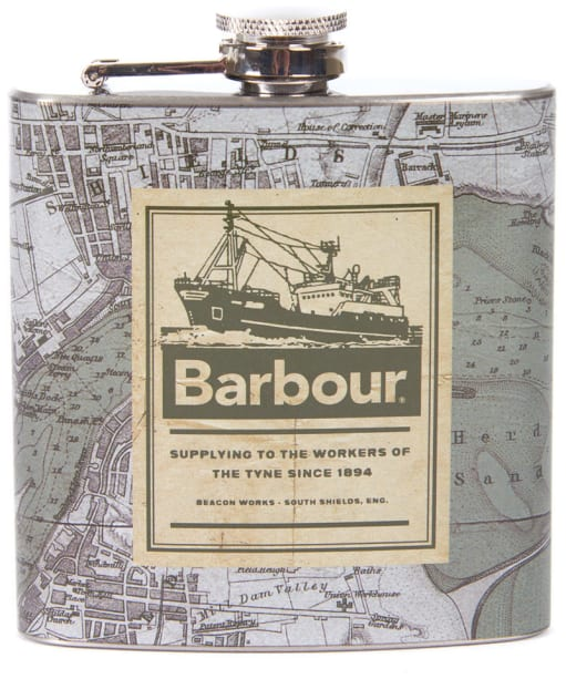 Barbour Archive Map 6oz Hip Flask - Green