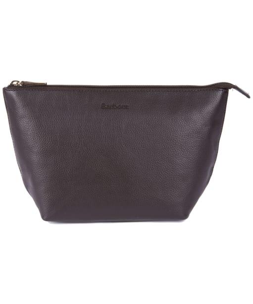 Barbour Kilnsey Leather Washbag - Dark Brown