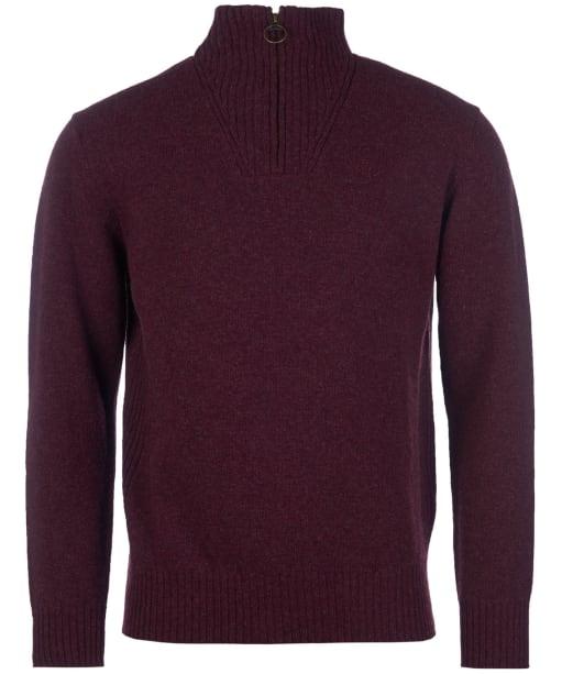 Men's Barbour Essential Wool Half Zip Sweater - Merlot