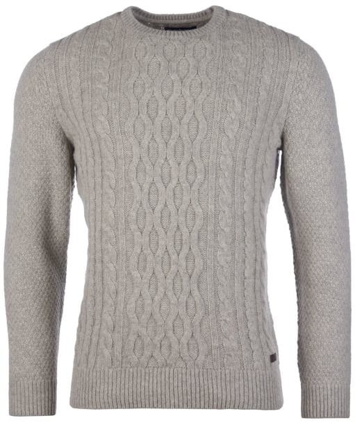 Men's Barbour Chunky Cable Crew Sweater - Fog
