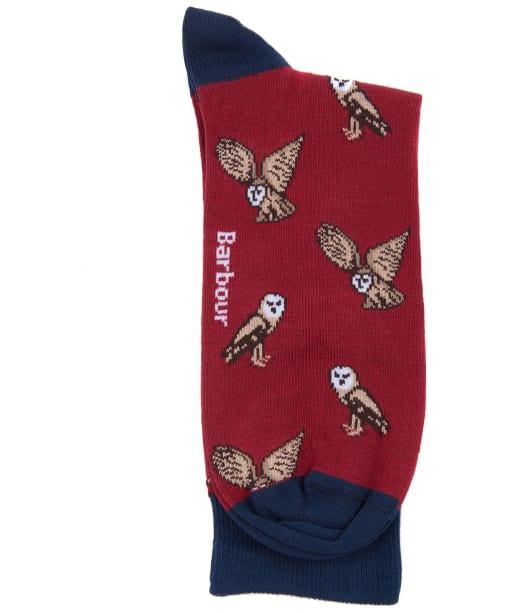 Men's Barbour Owl Socks - Cranberry