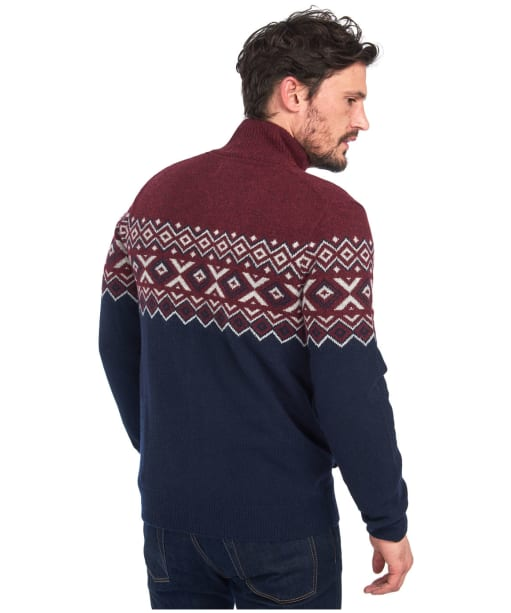 Men's Barbour Kirk Button Through Sweater - Merlot