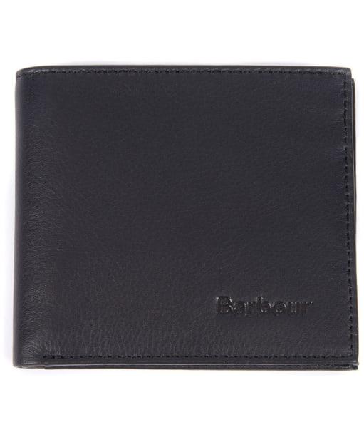 Men's Barbour Leather Billfold Wallet - Black / Seaweed Tartan