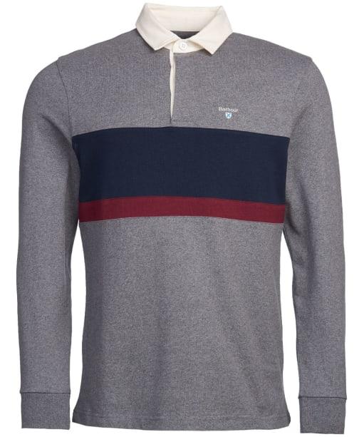 Men's Barbour Weston Panel Rugby Shirt - Dark Grey Marl