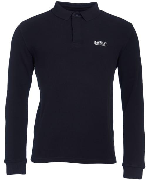 Men's Barbour International Honeycomb Pique L/S Polo Shirt - Black