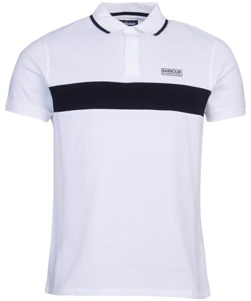 Men's Barbour International Block Stripe Polo Shirt - White