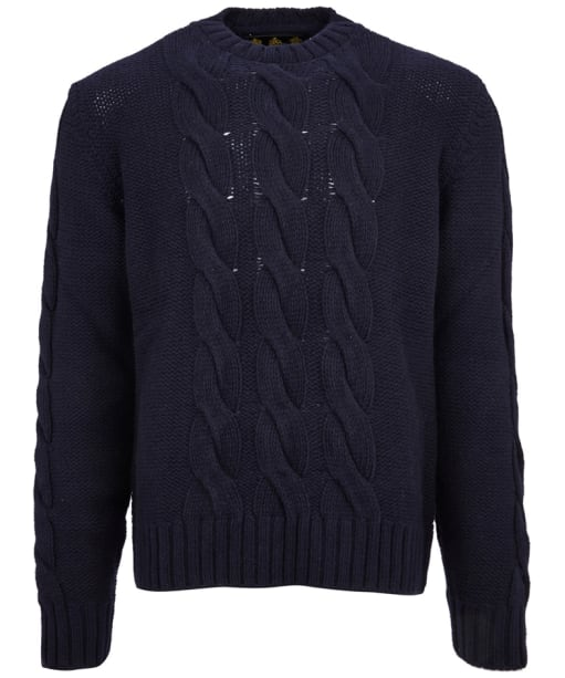 Men's Barbour Gold Standard Lennox Cable Crew Sweater - Navy