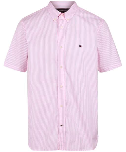 Men's Tommy Hilfiger Classic Twill Stripe Short Sleeve Shirt - Classic Pink / White