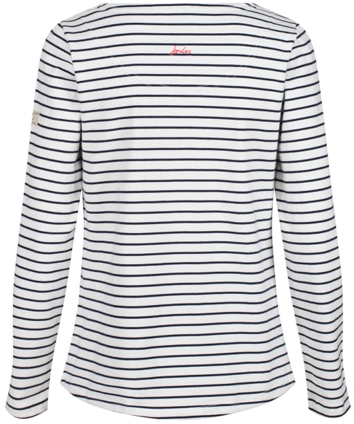 Women's Joules Harbour L/S Jersey Top - Cream / Navy Stripe