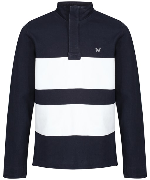 Men's Crew Clothing Twill Panel Padstow Sweater - Navy / White