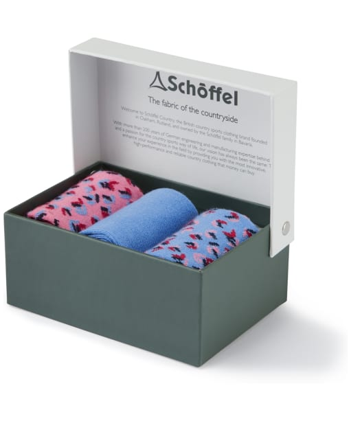 Women's Schoffel Bamboo Socks - Box of 3 - Blue Mix