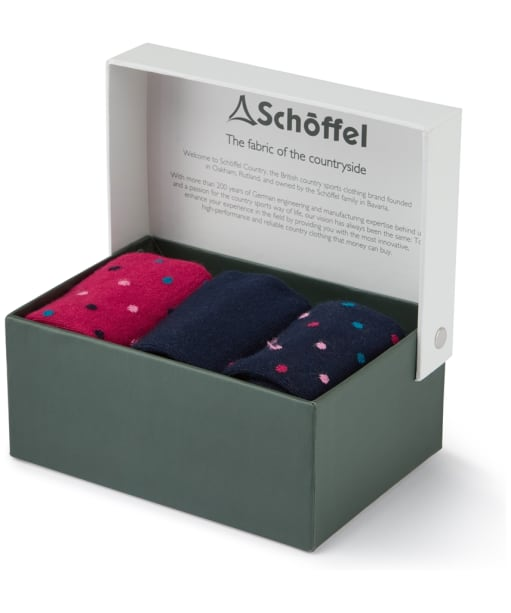 Women's Schoffel Bamboo Socks - Box of 3 - Navy Dot Mix
