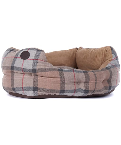 "Barbour 24"" Luxury Dog Bed - Taupe / Pink Tartan"