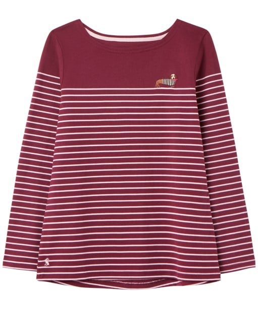 Women's Joules Harbour Embroidered Top - Purple Stripe