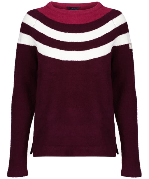 Women's Joules Seaport Roll Neck Jumper - Plum Multi Stripe