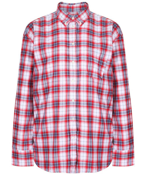 Women's GANT Relaxed Flannel Check Shirt - Bright Red