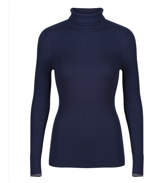 Women's Lily & Me Ribbed Polo Neck Top - Navy