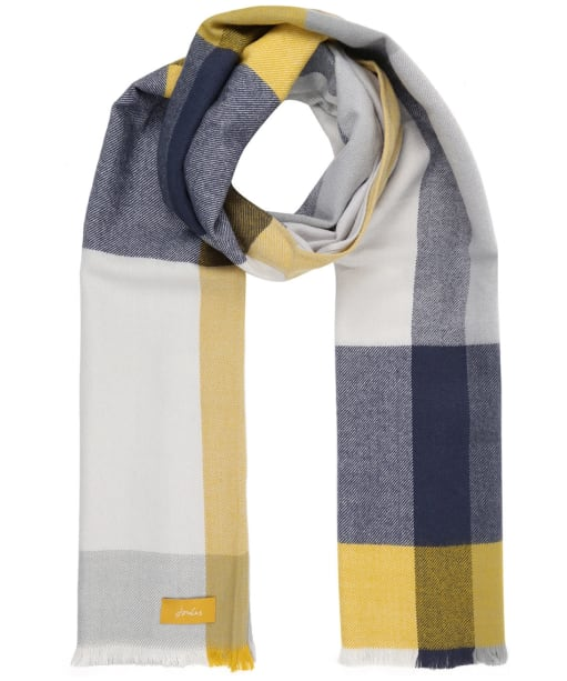Women's Joules Bridey Scarf - Cream / Grey / Yellow Check