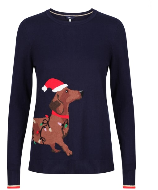 Women's Joules Festive Knitted Jumper - Navy Dog
