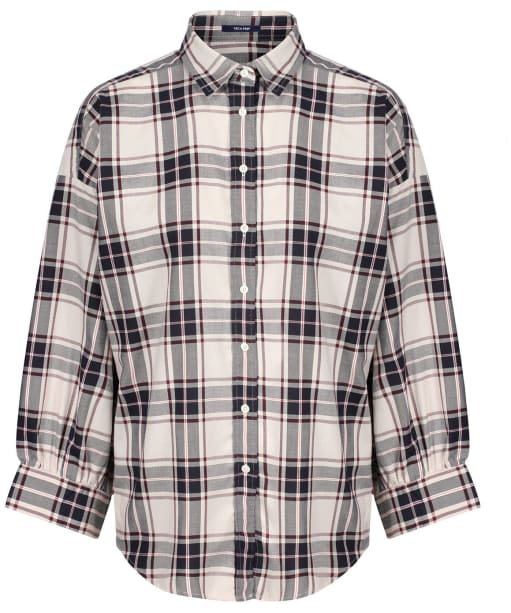 Women's GANT Oversized Tech Prep Plaid Oxford Shirt - Putty