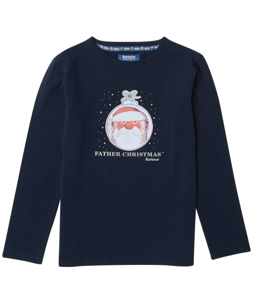 Girl's Barbour Father Christmas Annabel Overlayer - Navy